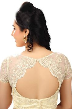 #Cream & #gold raw silk & #lace designer wear #blouse with cap sleeves -BL590