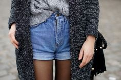 Sweater, high wasted shorts, and tights