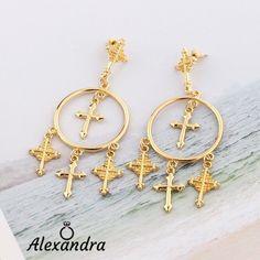 4db6814bd7e2 Estilo Barroco Joyería Cruz De Oro Crystal Ear Stud Pendientes Colgantes