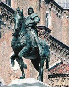 Equestrian Statue of Bartolomeo Colleoni - Andrea del Verrocchio.  1483-88.  Gilded bronze.  H: 395 cm (without base).  Campo di Santi Giovanni e Paolo, Venice, Italy.
