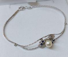 Vintage Armschmuck - 50er Jahre Armband Silber 835 Perle Saphire SA294 - ein Designerstück von Atelier-Regina bei DaWanda