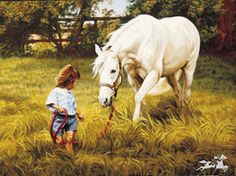 Pamela Parker - The Babysitter - Little Girl Leading White Horse Print