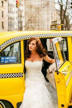 new york wedding, vintage taxi, 5th avenue