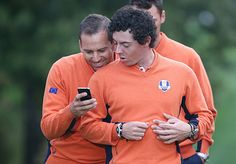 """European """"bromance"""" with Sergio and Rory during a practice round for the Ryder Cup."""