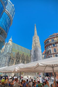 St. Stephen's Cathedral, Vienna, Austria by Axe.Man.  Its multi-colored tile roof makes it a very recognizable symbol of the city.