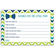 Have guests make wishes at your boy baby shower with this navy blue and lime green wishes card featuring chevron stripes. Card measures 4 x 6.