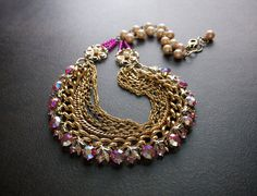 Hot Pink Rhinestone Vintage Assemblage Necklace with by BevaStyles