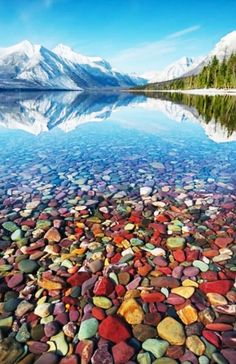 Lake McDonald, Glacier National Park in Montana. The rocks really are that colorful.