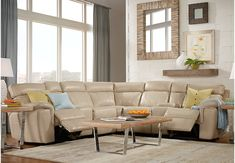 picture of Hudson Square Sand Leather 10 Pc Power Reclining Sectional Living Room  from  Furniture