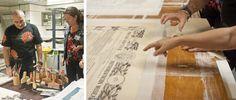 Biblioteca Nacional de España. A la izquierda Luís y Patricia Real, restauradora de documentos en el IVC+R (Valencia). A la derecha documento en proceso de restauración sobre el karibari (en tono anaranjado).