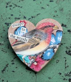 Vintage fabric and bird print wooden brooch by RunThroughTheForest