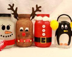 Mason Jar Reindeer | Christmas Mason Jars-Hand Painted Santa, Reindeer, Snowman, and ...