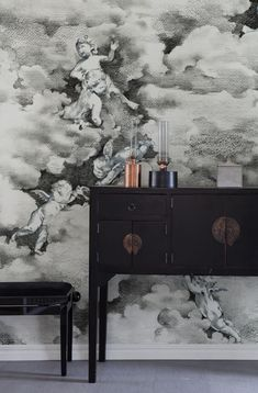 Can you spot the friendly cherubs amongst the clouds in this happy wall mural? This hand-drawn pattern is made using a combination of graphite pencils Decor, Art Decor, Wall Murals, Wallpaper, Mural, Inspirational Wallpapers, Pattern Wallpaper, Home Decor, Faux Painting
