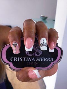 Cute Acrylic Nails, Cute Nails, Pretty Nails, Crown Nails, Nail Polish Storage, Nail Decorations, Nail Tech, Short Nails, Swag Nails