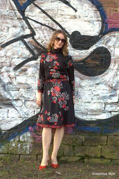 #Vintagedress #70s #flowerdress #red #A-Line   Oceanblue Style