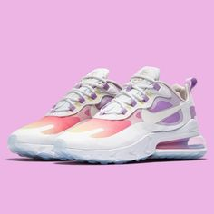 """As we turn into January, expect a lot of spirited """"Chinese New Year"""" themes on your favorite sneakers. Nike has dressed up the Air Max 270 React with an attractive gradient that mirrors the colors of the sunset. For a closer look, tap the link in our bio. Winter Sneakers, Air Max Sneakers, Sneakers Nike, Sneakers Women, Nike Air Shoes, Nike Air Max, Nike Fashion, Sneakers Fashion, Fashion News"""
