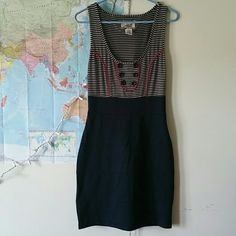 BB Dakota striped sailor dress Super adorable striped with buttons. Navy with a red trim.  O flaws whatsoever, this dress is in perfect condition! Bottom is tight body-con material. Has a zipper up the side that works fine. BB Dakota Dresses