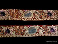 """Parsi gara border intricately worked in multi color flowers. A """"ZS embroidery"""" creation."""