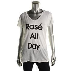 Wildfox Couture 6356 Womens Rose' All Day White V-Neck Pullover Top Shirt S BHFO
