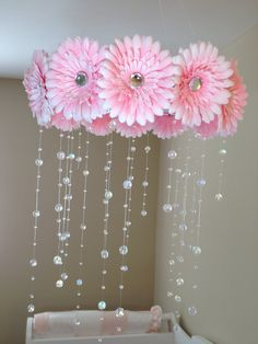 flower baby mobile baby girl mobile pink by JennabooBoutique, $70.00
