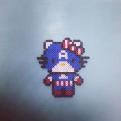 Captain America Hello Kitty perler beads by jovapour