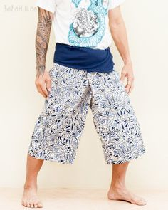Cropped Thai Fisherman Pants Porcelain Blue Off White Yoga Capris (Fun African Tribal Fish) Yoga Capris, Yoga Pants, Thai Fisherman Pants, Off White, Blue And White, Hippie Pants, Small Waist, Ethnic Fashion, Male Models