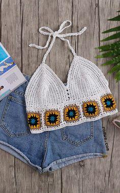 White Geo Pattern Trim Crochet Halter Neck Top