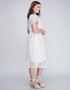 Eyelet Midi Fit & Flare Dress | Lane Bryant