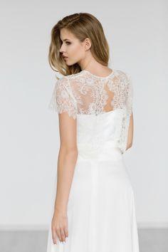 Bridal Lace Top , Bridal Bolero ,Beaded Wedding Top , Bridal Separates ,Ivory Beaded Bridal Cover Up, Wedding Lace Jacket - EMMA by JurgitaBridal on Etsy https://www.etsy.com/listing/253384894/bridal-lace-top-bridal-bolero-beaded