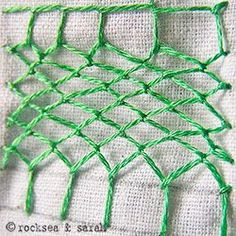 Fishnet Stitch. Very useful for creating meadows in your embroidery!