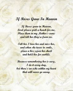 Memorial Poem for Mother Roses in Heaven by queenofheartgifts, $4.99
