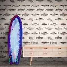 Fishes In Geometrics Wallpaper by Florent Bodart Pop Art Wallpaper, Designer Wallpaper, Elle Decor, Geometric Shapes, Home Art, Wallpapers, Fish, Modern, Trendy Tree