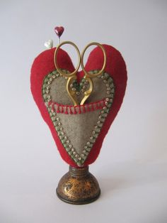 Primitive Pincushion -  Hand dyed Wool and embroidery Heart ScissorKeep