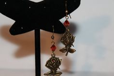 Antique Gold Rose & Red Magma Crystal Dangles by GemsByJennie, $8.50