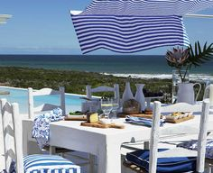 Perfect setting for Australia Day celebrations wouldn't you say?a few Australia day designed accessories and we're set for a gorgeous da. Australia Day Celebrations, Island Life, Bbq, Table Settings, Blue And White, Patio, Tablescapes, Outdoor Decor, Stripes