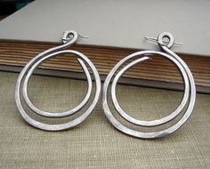 Super Big  Earrings Double Hoop Loop Light by nicholasandfelice, $ 16.00  Big but super light  weight because they are aluminum. (The earwires are sterling silver.)