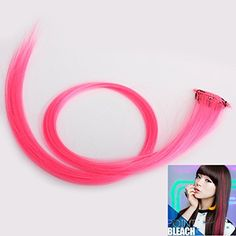 ACE Colorful Clip On Hair Straight Extensions Personality Punk Pink Long >>> Check out @