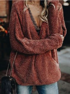 chenille sweater and lace