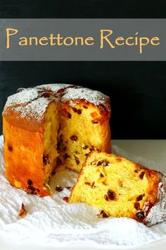"""This traditional Italian Panettone Recipe was originally a Christmas sweet bread but make it once and you will want it on your table at every holiday! A satisfying, comforting, show-stopping, affordable dessert, packed with lots of flavors. Panettone Cake, Italian Panettone, Easy Panettone Recipe, Easy Cake Recipes, Baking Recipes, Dessert Recipes, Christmas Bread, Christmas Baking, Italian Christmas Cake"