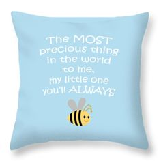 Little One Blue Throw Pillow by Inspired Arts