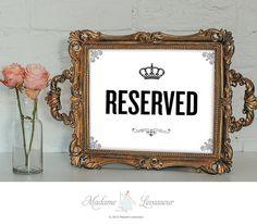 RESERVED sign printable sign restaurant sign by MadameLevasseur