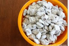 How to make puppy chow   9 cups of Chex mix 1 cup of chocolate chips 1/2 a cup of peanut butter 1/4 cup of butter 1/4 teaspoon of vanilla 1 1/2 cup of powdered sugar  Put cereal in a large bowl.  Melts chocolate chips peanut butter and butter. Remove from heat and stir in vanilla.   Pour over Chex cereal. Put into a large plastic bag with powdered sugar and shake well  Spread mixture on wax paper very evenly and allow it to cool                Then Dig in