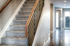 Modern style // rustic wood // Design by 303 Development Wood Design, Rustic Wood, Custom Homes, Stairs, Denver, Modern, King, Home Decor, Style