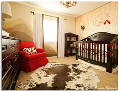 Boy's western nursery design by Little Crown Interiors featuring custom crib bedding, rustic cowboy decor and a hand painted wall mural. Western Baby Nurseries, Western Nursery, Cowboy Nursery, Cowboy Room, Western Theme, Baby Boy Nurseries, Cowboy Theme, Rustic Nursery, Western Crib