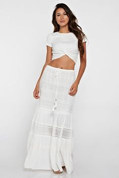 Full length skirts are a major trend this year, and this skirt works the look while showing a sexy, subtle hint of skin through lacy cutouts. Dress the drawstring waist skirt up for dancing or down for shoreside picnics. Full Length Skirts, High Waisted Skirt, Waist Skirt, Spring Summer 2018, Drawstring Waist, Lace Skirt, Swimsuits, Picnics, Skirt Fashion