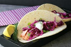 Recipes for Weight Loss - Salmon Tacos with Red Cabbage Dill Slaw (304 calories)