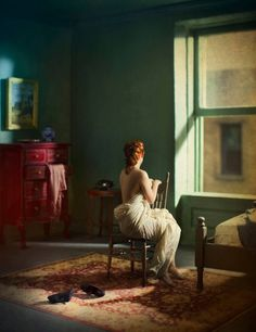 "Green Bedroom. From the series ""Hopper Meditations"" © Richard Tuschman"