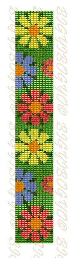 Flowers bead loom Pattern square stitch pattern floral