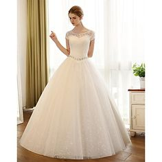 A-line+Wedding+Dress+Floor-length+Scoop+Lace+/+Satin+/+Tulle+with+Appliques+/+Lace+–+USD+$+49.99
