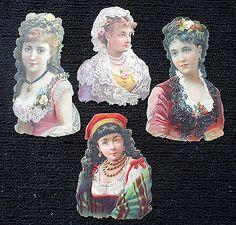 19C Die Cut Embossed Ephemera Lot of 4 Amazing Victorian Young Women NOT SCRAPS (11/10/2013)